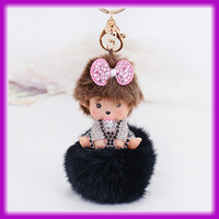 Hanging Accessories Bow Fur Ball Monchhichi Luxury Car Keychain