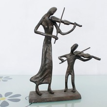 cast bronze mother and child playing music sculptures for home decoration