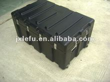 Heavy duty plastic military large shipping tool storage case with two rolling wheels