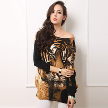 DW034 New winter Europe the large size women's dress wholesale tiger figure printing long-sleeved dress