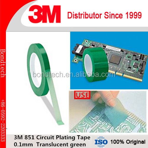 3M 851 Circuit Plating Tape/green polyester film tape for printed circuit board masking during electroplating