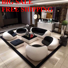 Free shipping creative <strong>modern</strong> black white round leather sofa seat