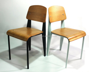 Shunde furniture Jean Prouve modern plywood school standard metal chair