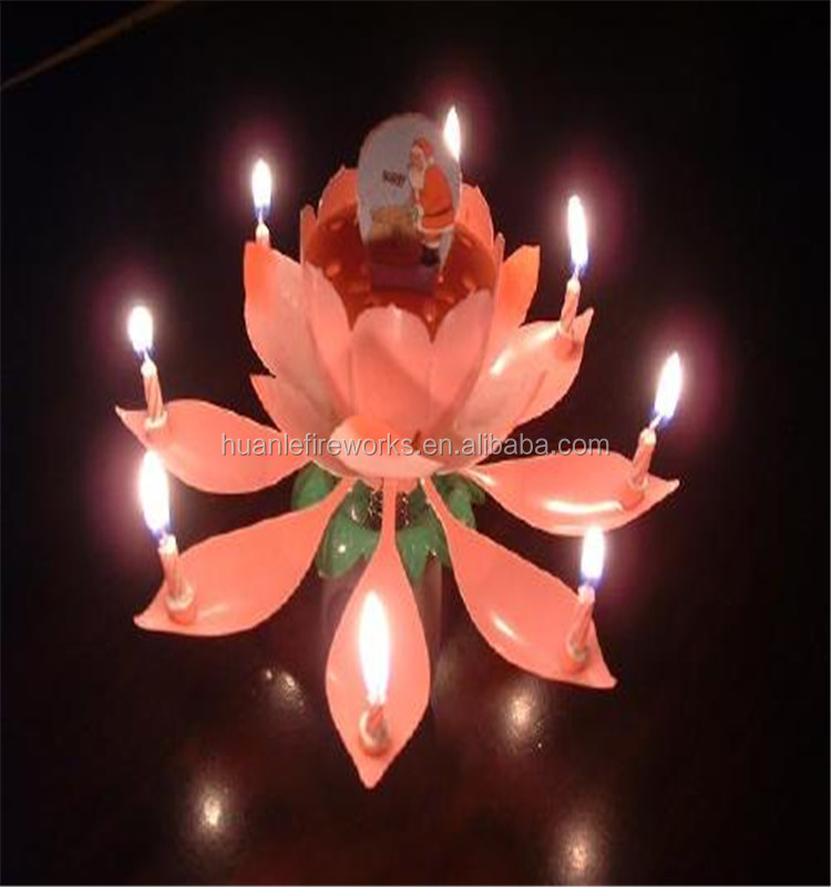 2016 Birthday Item Lotus Flower Music Fireworks Birthday Candle Cake