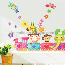 Free Shipping Train Giraffe Elephant DIY Removable Wall Stickers Parlor Kids Bedroom Home Decor House Decoration LM1005