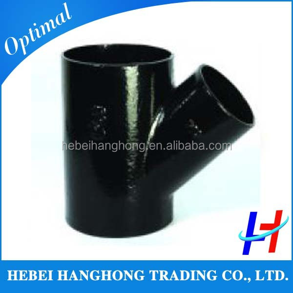 hot sale of 45 degree carbon steel y branch pipe fitting reducing lateral tee for Saudi Arabia