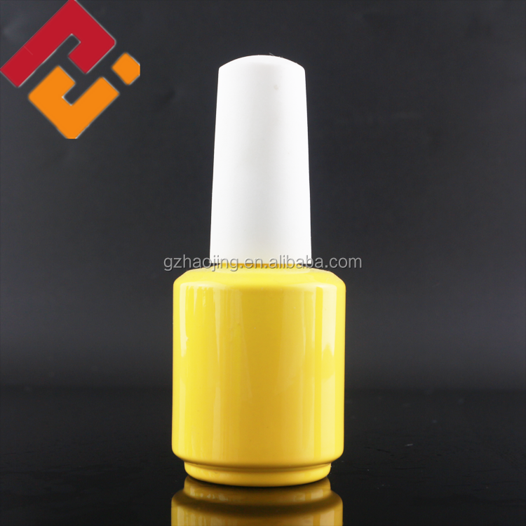 factory price 15ml 18ml yellow empty large uv gel nail polish glass bottle