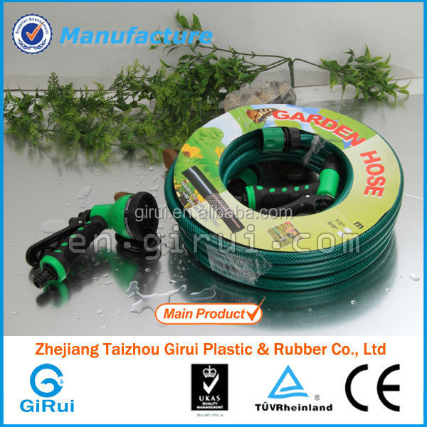 PVC Water Discharge Garden Hose,soft braided water hose with 5-way splitter