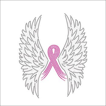 Breast Cancer wings Ribbon Pink Rhinestone Iron on Transfer