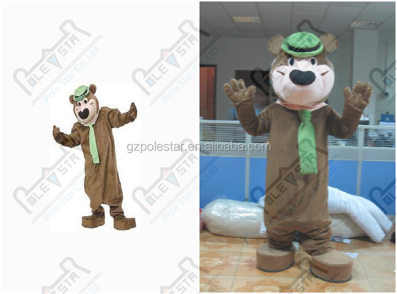 hot sale yogi bear mascot costume cartoon green scarf bear costumes polyfoam head high quality