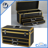 Portable sturdy beauty drawer travel aluminum jewelry box for makeup carry