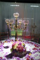Golden Crystal Candelabra for wedding table decoration