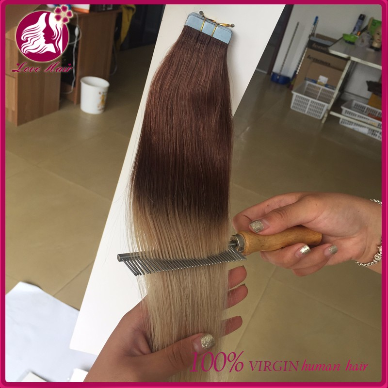 Wholesale Grade 10a virgin Brazilian straight 2 tone human hair tape in hair extensions tape hair extensions making machine