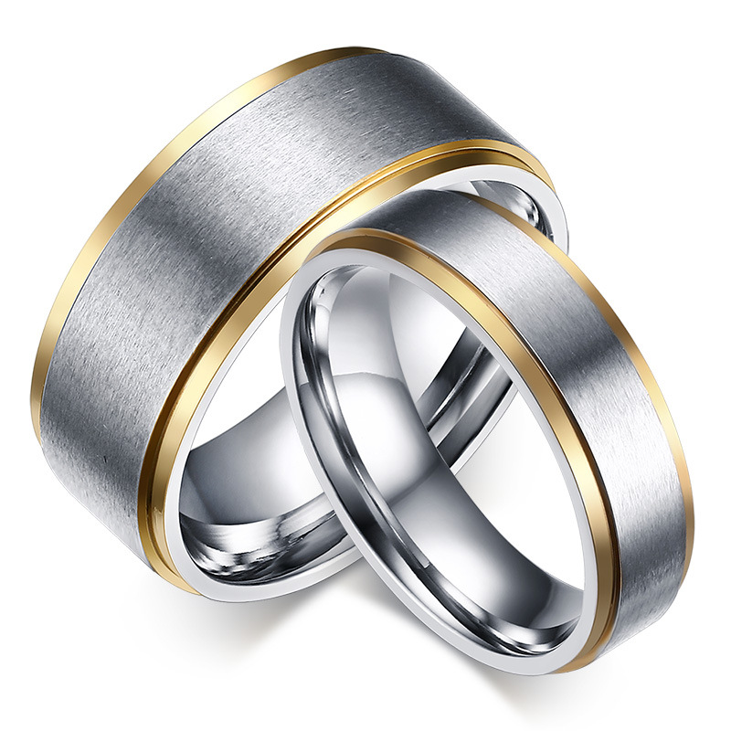 Valentine's Day Fashion Stainless Steel Silver Dull Polish Matt Couple Lover Promise Rings for Men and Women