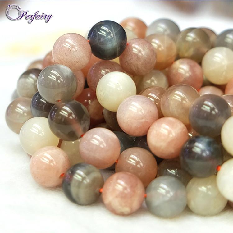 "6MM-12MM Sri Lanka Natural Moonstone Round Gemstones Loose Beads 15/"""