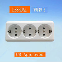 European electrical surface mounted trible sockets with CB