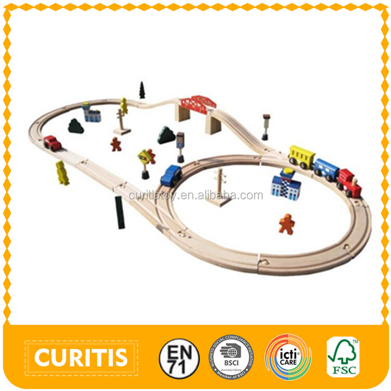 china EN71-1-2-3 ASTM factory toys suit 3+ ages school kid play ho scale model train handmade 45 pcs wooden toys track game rail