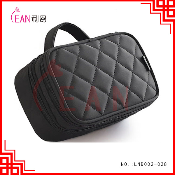 canvas cosmetic brush bag travel wash make up bag black basic foldable cosmetic makeup bag with mirror in stock
