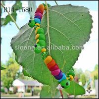 Rainbow Caterpillar Bracelet Green Inchworm Polymer Clay Beaded Bracelet