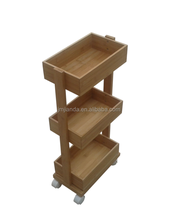 Bamboo Rolling Kitchen Cart With bake Wheels
