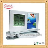 YD8055 pen holder clock with photo picture frame