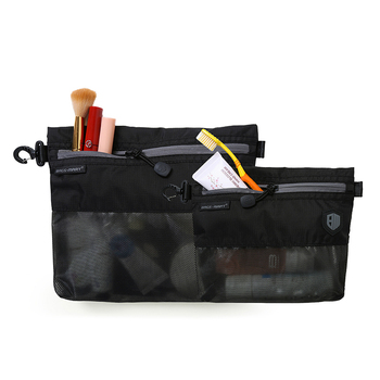 Cheap Black Polyester Travel Make Up Organizer Women Toiletry Bag Cosmetics