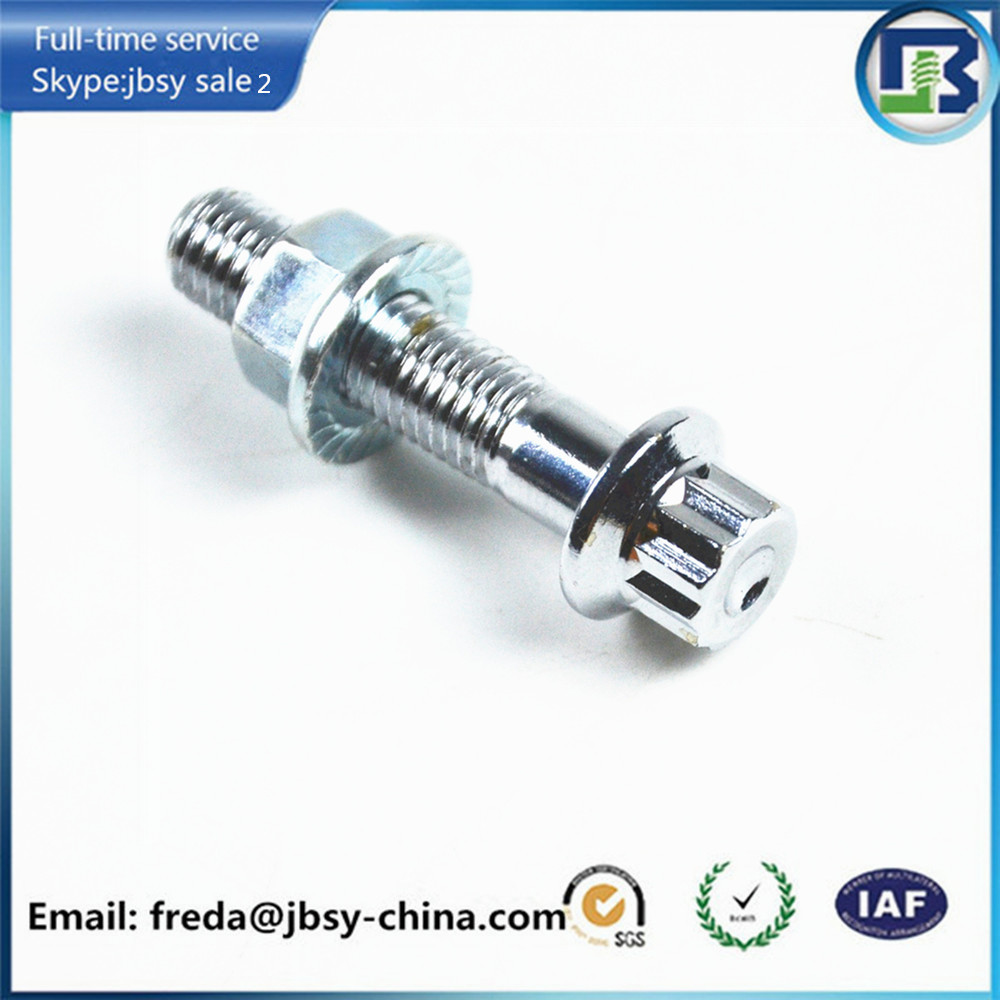Grade 4.8/8.8/10.9/12.9 M7*32 12 point flange bolt and nut with chrome plated finishing