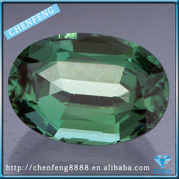 Synthetic oval shape May birthstone emerald cut cubic zirconia