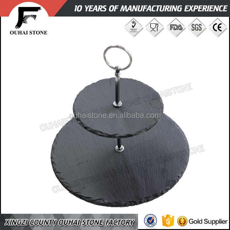 Factory Direct Natural Edge Round Shape Black 2 Tier Slate Cake Stands for wedding