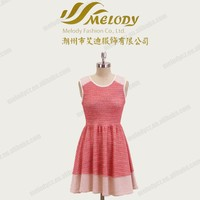 Rayon red leeveless short knee-length fashion girl summer dresses casual