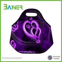 Custom Colorful printing soft neoprene Insulated Drawstring Lunch Bag