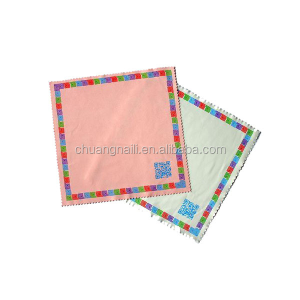200gsm sublimation printing microfiber spectacles cleaning cloth with saw cutting edge