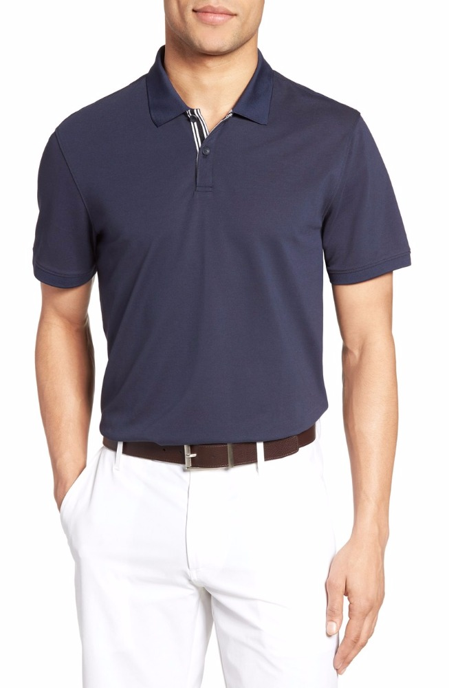 short sleeve moisture-wicking, quick-dry cotton-blend shirts for men polo