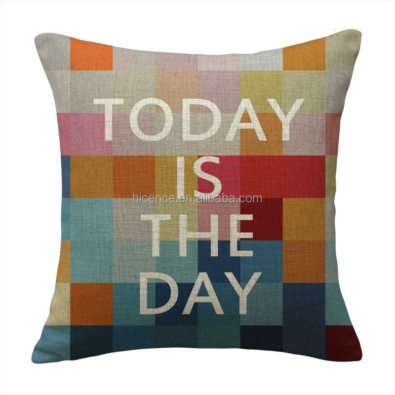 Motivative motto printed inspiration cushion cover for back support