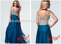 2014 Heavily Jeweled Bodice Tiered Chiffon Long Prom Dress Attractive Peacock Full-length Mac Duggal A-Line Evening Gown NB0296
