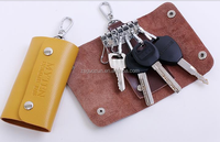 Promotional Color Portable 6 Clips PU Leather Car Keychain Key Holder Bag Case Wallet Cover