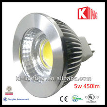3 years warranty 12v mr16 cob led 5w 450lm gu5.3 spot light bulb