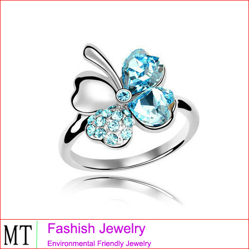 Free shipping Fashion Lucky Four Leaf clover shaped Ring Crystal From Swarovski