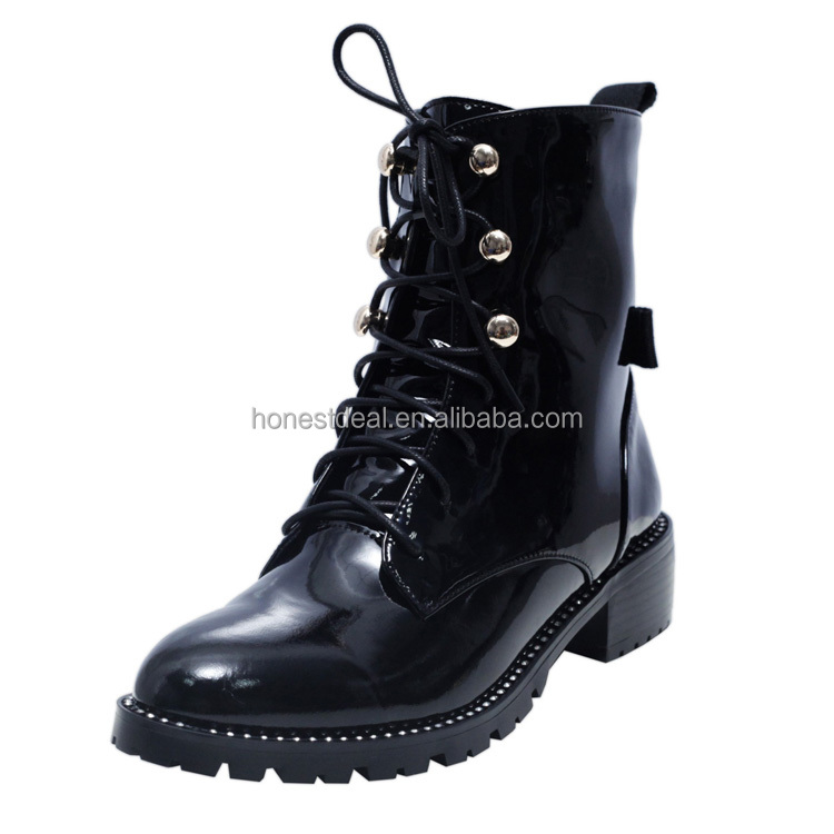 Women Patent leather lace up metal hook anti-slip outsole low chunky heel waterproof stiching casual big size boots