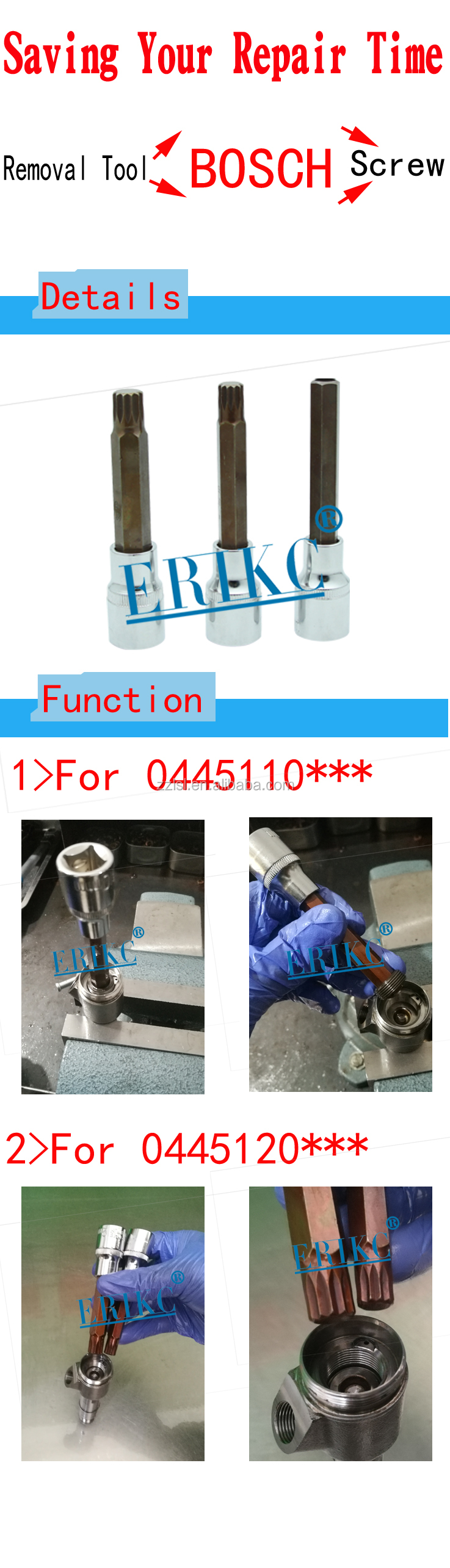 ERIKC crdi repair tools to remove valve for auto diesel part injector 110 120 series