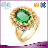 Factory 2016 main product gold plated zinc alloy Austrian flower crystal ring for women