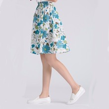 Wholesale womens girls printed cotton linen pictures of a-line short floral skirts