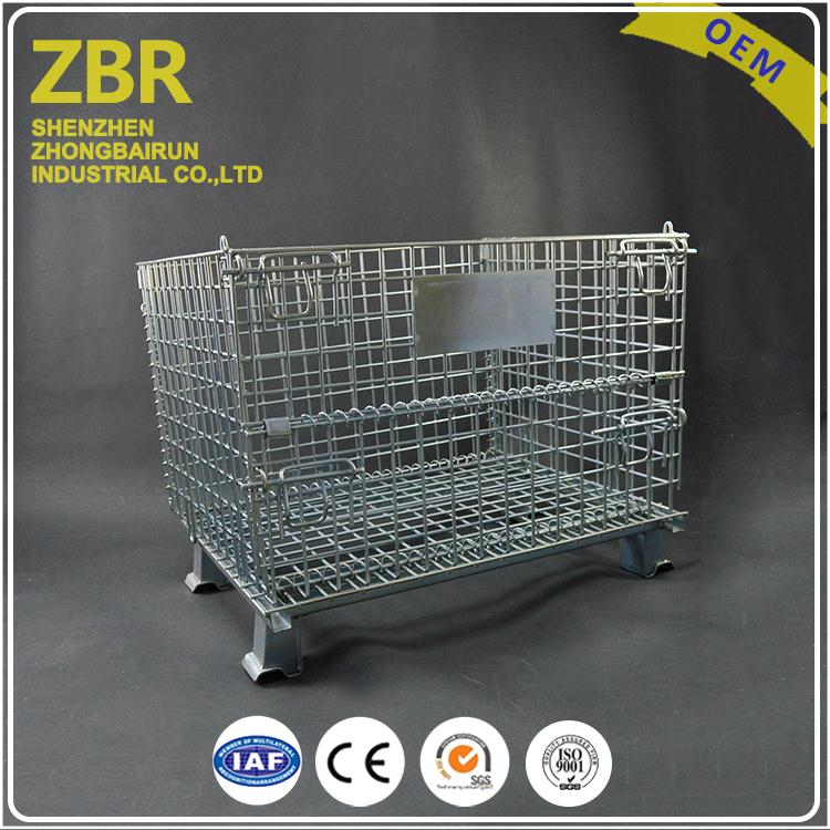 Bright electro zinc plated heavy duty wire mesh cages warehouse collapsible cages/baskets roll cage basket stackable container