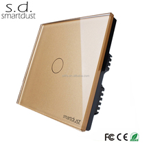 CE ROHS FCC Fashion Design UK 1 Gang 1 Way Tempered Glass Touch Screen Switch Board, Touch Switch
