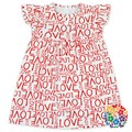 Valentine's Day One Piece Pearl Dress Love Words Print Organic Baby Clothes Dress