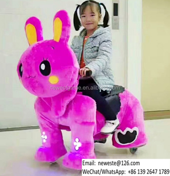 Size M and L Electric Battery Coin Operated Rabbit Plush Animal Rides