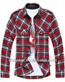 OEM spring Mens shirt fashion red gingham flannel shirt casual plaid shirt