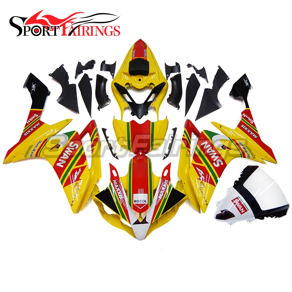 Complete <strong>Fairings</strong> For Yamaha YZF <strong>R1</strong> 07 <strong>08</strong> ABS Plastic Injection Motorcycle <strong>Fairing</strong> Kit SWAN Yellow Covers