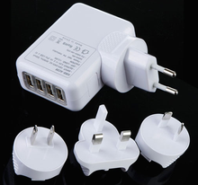 4 USB ports multi adapter wall mount travel charger with EU,US,AU and UK plugs