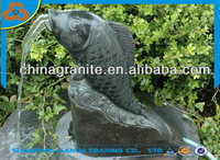 decoration black stone carving fish garden fountain